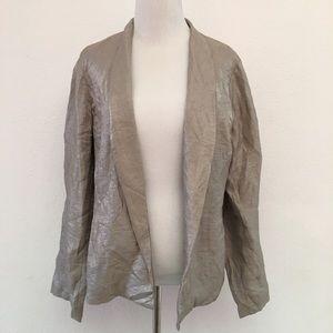 Eileen Fisher Open Jacket Size M Linen Metallic